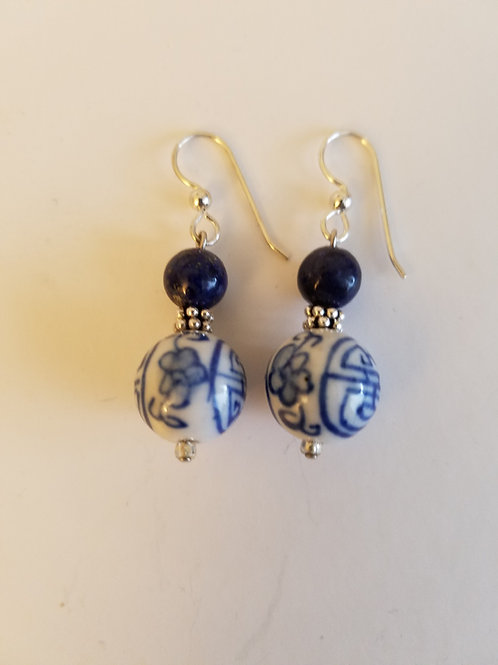 Porcelin & Lapis earrings