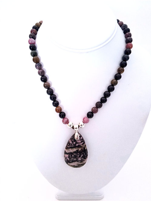 Tourmaline and Leopard Skin Jasper Necklace