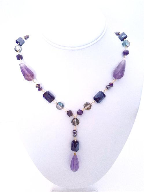 Amethyst & Crystal Tear Drop Necklace