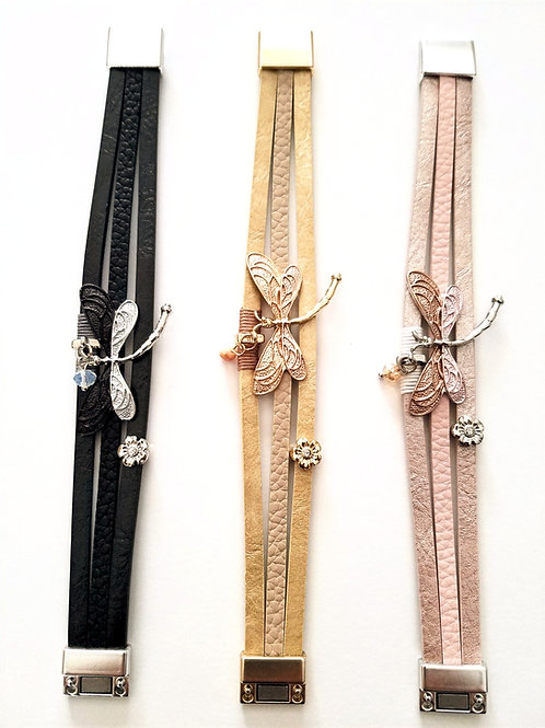 Dragonfly Faux Leather Magnetic Bracelets