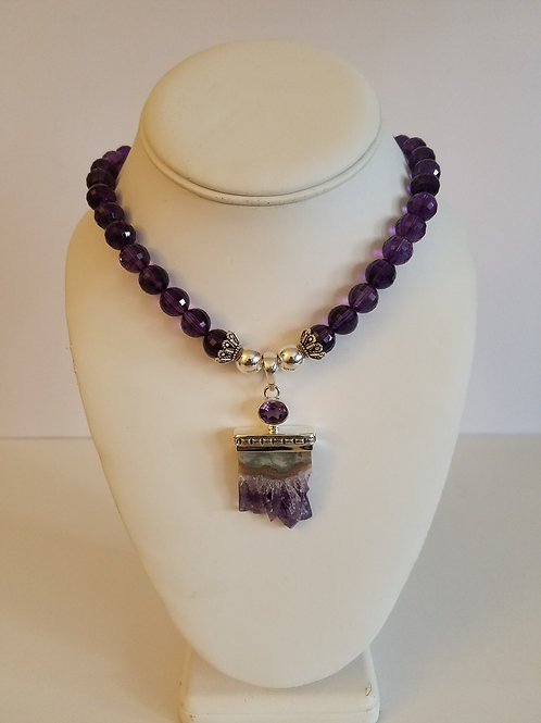 AMETHYST NECKLACE & CRYSTAL PENDANT
