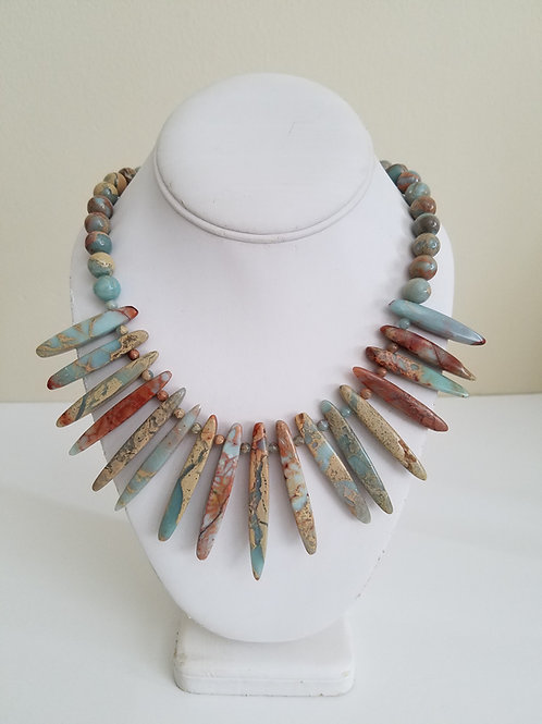 AFRICAN OPAL SPIKE NECKLACE