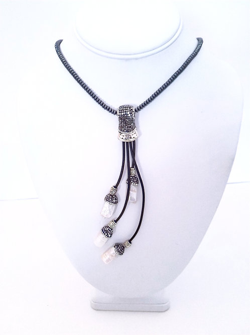 Hematite & Biwa pearl long necklace