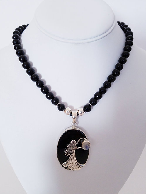 Onyx & ERTE Pendant Necklace