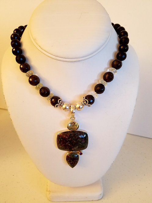 EUDIALYTE AND GARNET NECKLACE