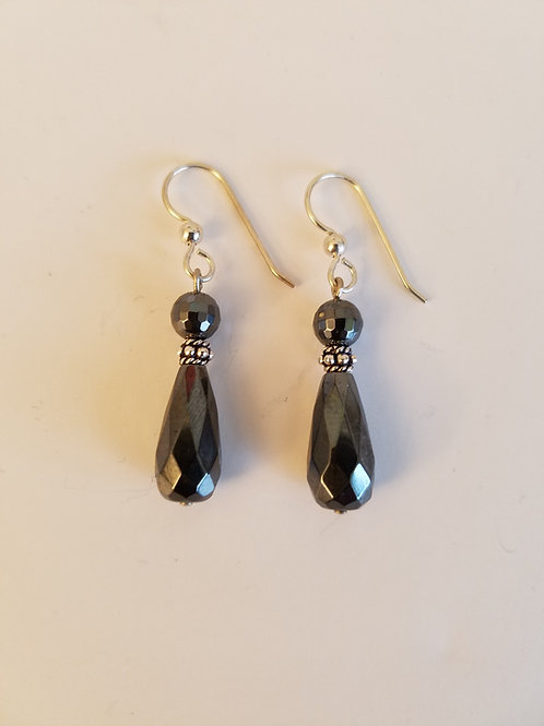 HEMETITE DROP EARRINGS
