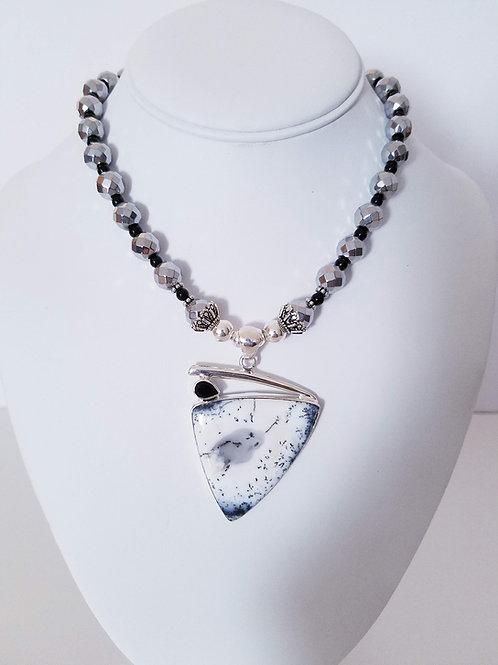 Dendritic Opal & Hematite Necklace