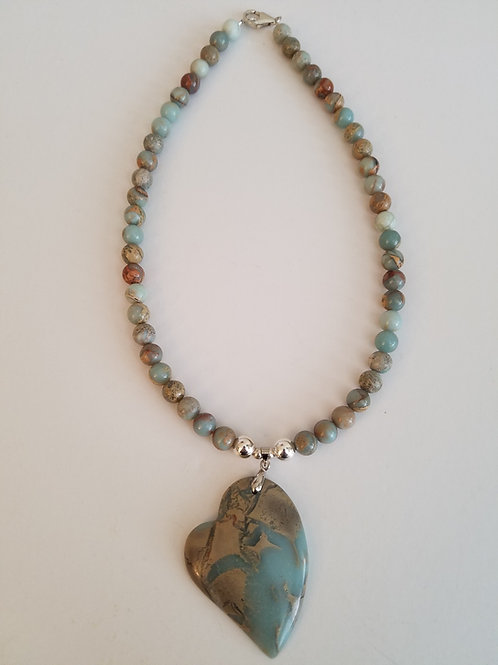 AFRICAN BLUE OPAL HEART NECKLACE