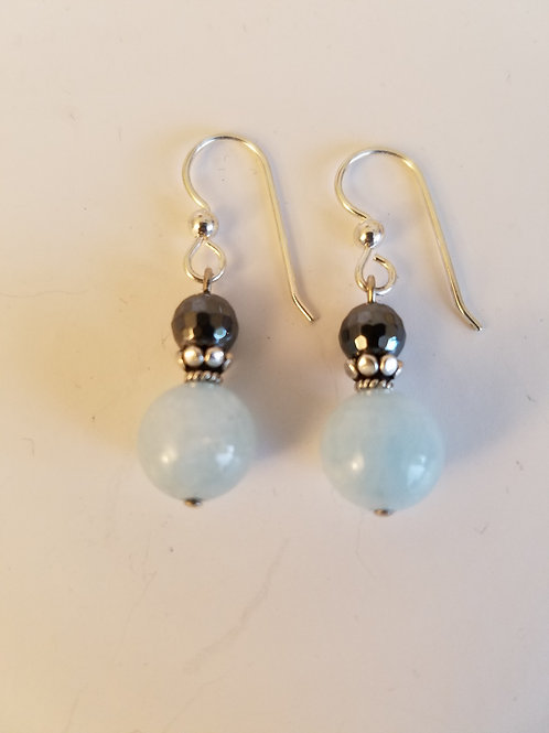 Aquamarine & Hemetite Earrings