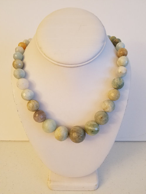 FACETED NATURAL AQUAMARINE NECKLACE