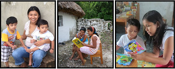 Children reading in Proyecto Itzaes in Yucatan