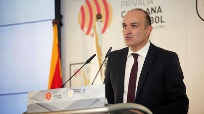 Andreu Subies, president de la Federació Catalana de Futbol, va llegir el manifest de la convocatòria de vaga Foto: futbolcatalunya.com