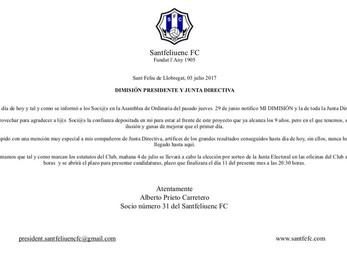 Alberto Prieto presenta la dimissió i anuncia candidatura