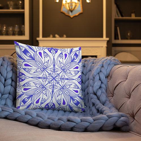 Blue Faces Mandala - Premium Pillow