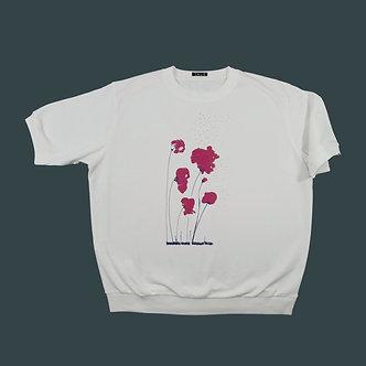 T-shirt Sweet poppy serigraphie framboise et aubergine - coton bio - sérigraphie main  | Tale | Paris France