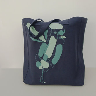Cabas en chanvre coloris bleu acier sérigraphié à la main Sweet Bird tilleul et vert celadon | Tale | Paris France