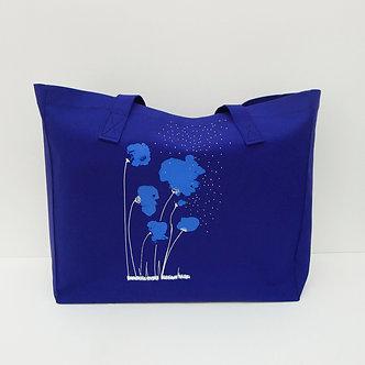 Cabas en coton bleu cobalt sérigraphié à la main sweet Poppy | Tale | Paris France