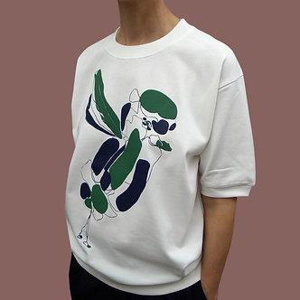T-shirt Sweet Bird vert sapin et noir bleuté - coton bio - sérigraphie main  | Tale | Paris France