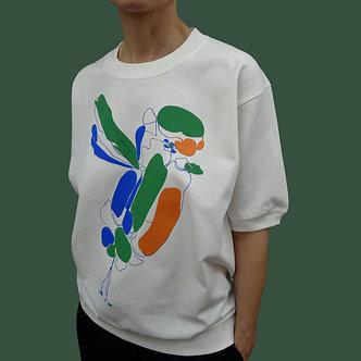 T-shirt Sweet Bird, sérigraphie vert pré, bleu roi et orange- coton bio - sérigraphie main  | Tale | Paris France