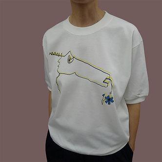 T-shirt Sweet Monster, sérigraphie jaune et noir, fleur bleue - coton bio - sérigraphie main  | Tale | Paris France