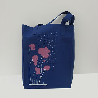 Tote bag Sweet Poppy en coton coloris bleu lapis sérigraphié à la main | Tale | Paris France