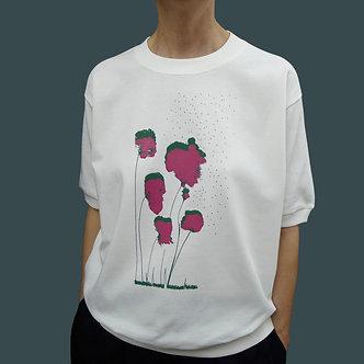 T-shirt sweet Poppy sérigraphie framboise et vert sapin - coton bio - sérigraphie main  | Tale | Paris France