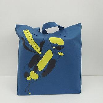 Cabas en coton bleu canard sérigraphié à la main Sweet Bird jaune et noir, profil  | Tale | Paris France