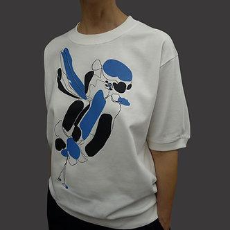 T-shirt Sweet Bird sérigraphié bleu roi et noir - coton bio - sérigraphie main | Tale | Paris France