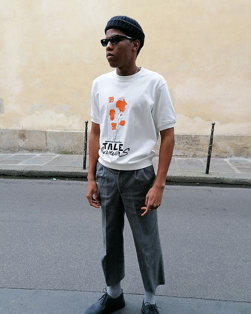 T-shirt en coton bio sérigraphié et peint à la main- Tale-paris