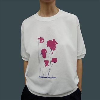 T-shirt Sweet Poppy sérigraphie framboise et aubergine - coton bio - sérigraphie main  | Tale | Paris France