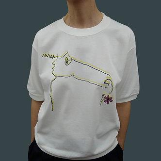 T-shirt Sweet Monster, sérigraphie jaune et noir, fleur framboise