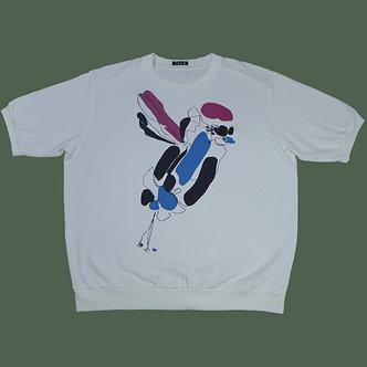 T-shirt Sweet Bird, framboise, bleu roi et noir - coton bio - sérigraphie main  | Tale | Paris France
