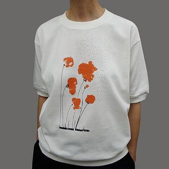 T-shirt sweet Poppy sérigraphie orange et noir - coton bio - sérigraphie main  | Tale | Paris France