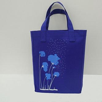 Tote bag en coton bleu cobalt sérigraphié à la main Sweet Poppy | Tale | Paris France