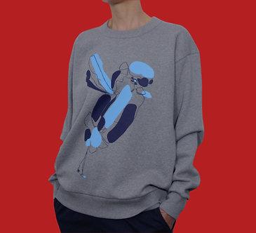 Sweat Bird bleu azur et outremer - coton bio - sérigraphie main  | Tale | Paris France