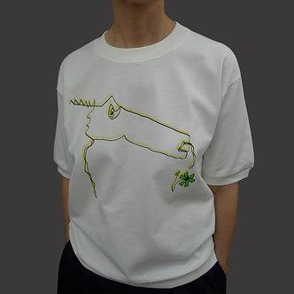 T-shirt sweet Monster, sérigraphie jaune et noir, fleur vert acidulé - coton bio - sérigraphie main  | Tale | Paris France