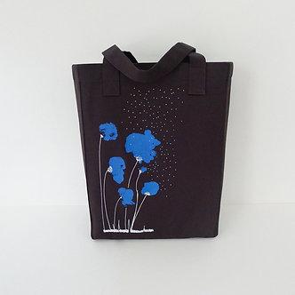 Tote bag en coton marron sérigraphié à la main Sweet Poppy bleu roi et blanc | Tale | Paris France