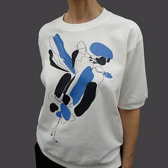 T-shirt Sweet Bir bleu roi et noir - coton bio - sérigraphie main  | Tale | Paris France