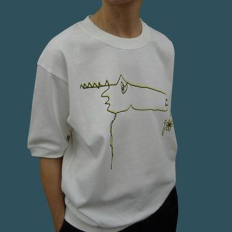 T-shirt Sweet Monster, sérigraphie jaune et noir- coton bio - sérigraphie main  | Tale | Paris France