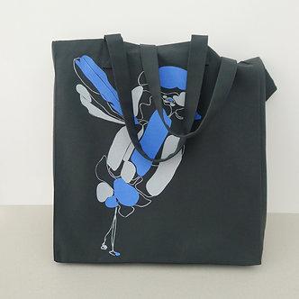 Cabas en coton et cachemire gris cendre sérigraphié à la main Sweet Bird bleur roi et gris clair | Tale | Paris France