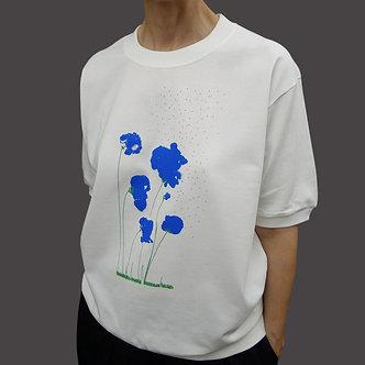 T-shirt Sweet Poppy, sérigraphie vert pré et bleue - coton bio - sérigraphie main  | Tale | Paris France