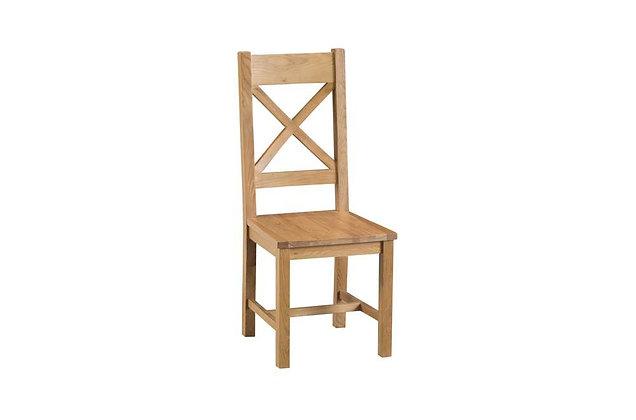 Naples Rustic Oak Cross Back Chair Wooden Seat