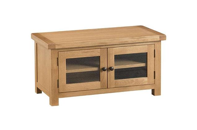 Naples Rustic Oak Standard TV Unit with Glazed Doors