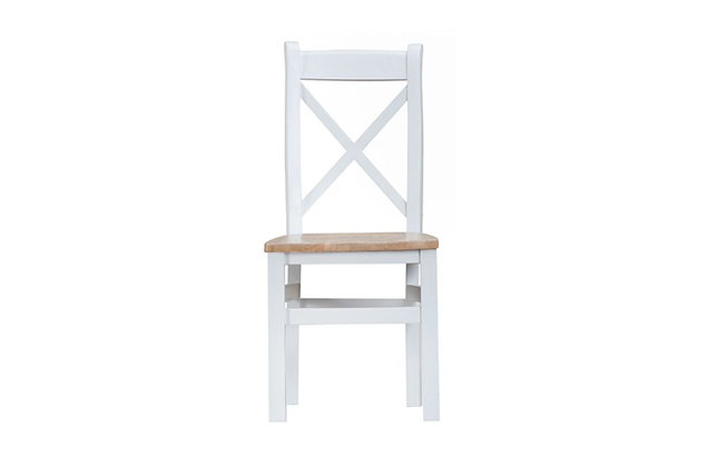 Country Cross Back Chair Wooden Seat (Wimborne White)