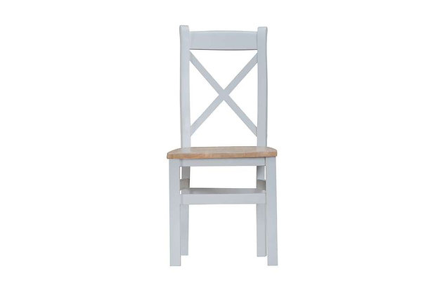 Country Cross Back Chair Wooden Seat (Ferndown Grey)