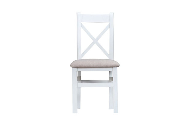 Country Cross Back Chair Fabric Seat (Wimborne White)