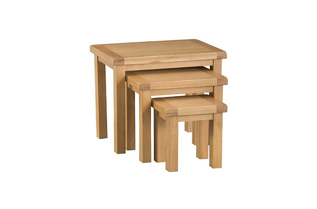 Naples Rustic Oak Nest of 3 Tables