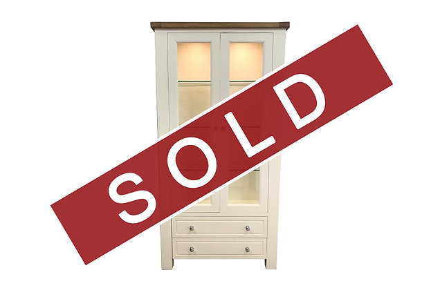 Bretagne 2 Door Display Cabinet – Ivory with Lacquered Top