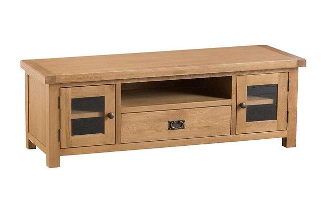 Naples Rustic Oak Large TV Unit with Glazed Doors
