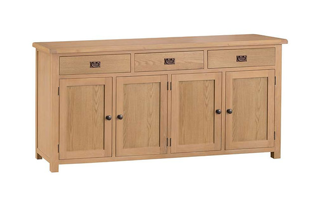 Naples Rustic Oak 4 Door Sideboard